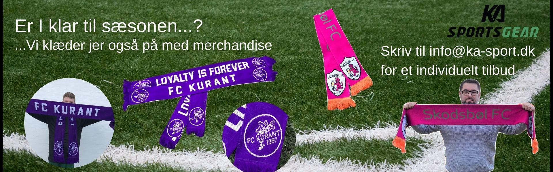 Merchandise til klubben - halstørklæder, caps, pins, håndklæder og meget mere